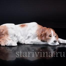 Фигурка из фарфора Лежащая собака, Karl Ens, Германия, 1920-30 гг.