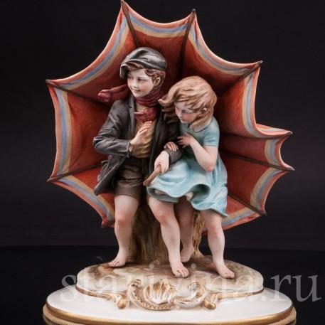 Фарфоровая статуэтка Под зонтом, Bruno Merli, Италия, сер. 20 в.