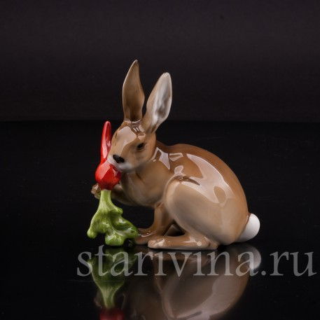 Фигурка из фарфора Кролик с морковкой, Hutschenreuther, Германия, 1970 гг.